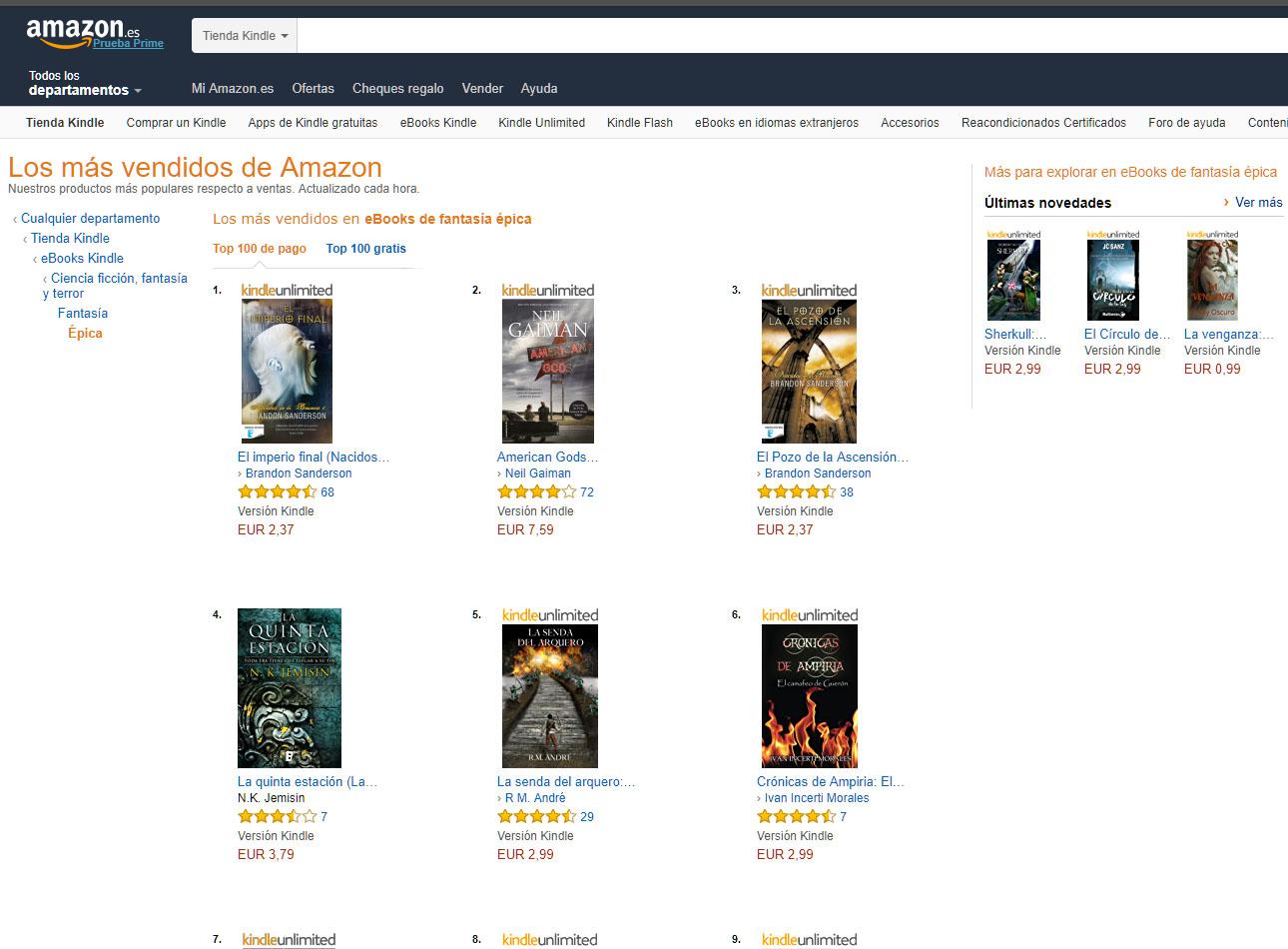 Crónicas de Ampiria: Top 10 de fantasía épica en Amazon