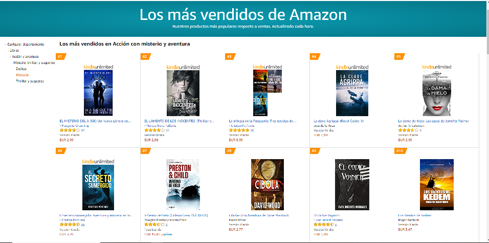 El códice Voynich: top ten ventas en Misterio de Amazon